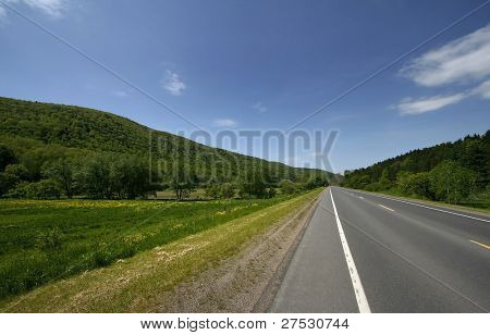 High way through forest in Pennsylvania state