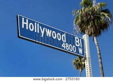 Hollywood Blvd Street Sign W/Palms