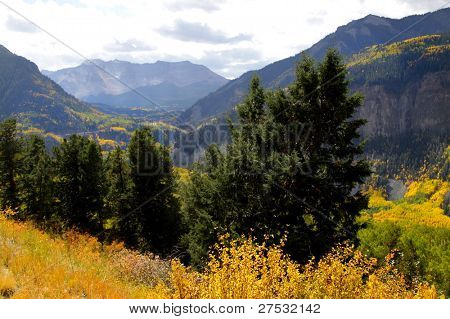 Scenic landscape of Colorado rocky mountains in autumn time