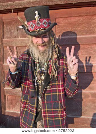 Eccentric Senior Man Signing Peace, Success