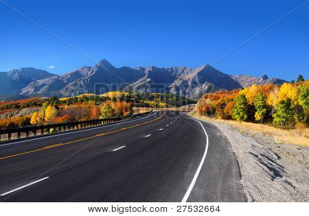 Scenic drive near Dallas divide in San Juan mountains