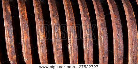 Helical threads close up shot of large rustic screw