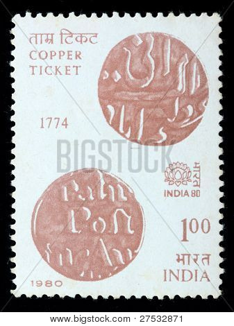 INDIA - CIRCA 1980: A stamp printed in India (present time India) shows Copper prepayment ticket, circa 1980