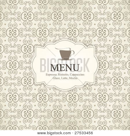 Vector. Restaurant or coffee house menu design, with seamless background