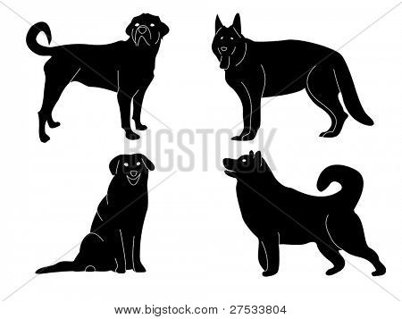 Reihe von vier Hunde, vector Background.