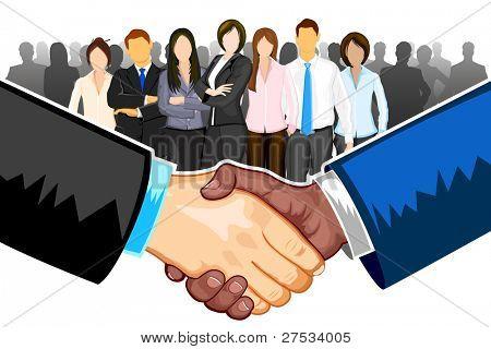 illustratie van zwarte en witte mannelijke handshaking met elkaar op witte achtergrond