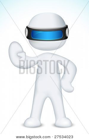 illustration of 3d man in vector fully scalable making stop with his hand