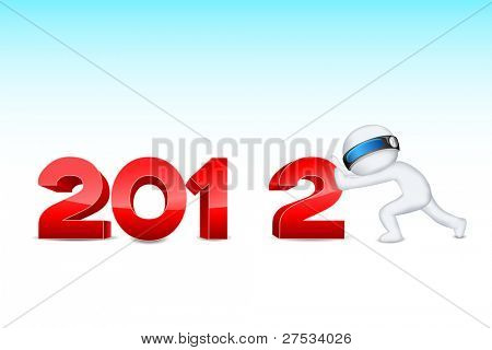 illustration of 3d man in vector fully scalable pushing 2012
