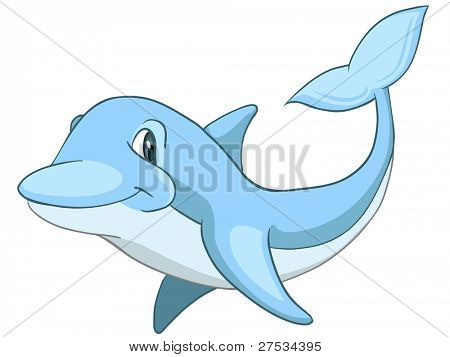 Cartoon Character Dolphin Isolated on White Background. Vector.