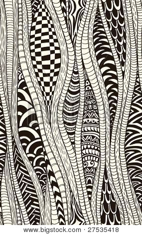 Fantasy ethnic seamless pattern. Hand drawn. Artistic.