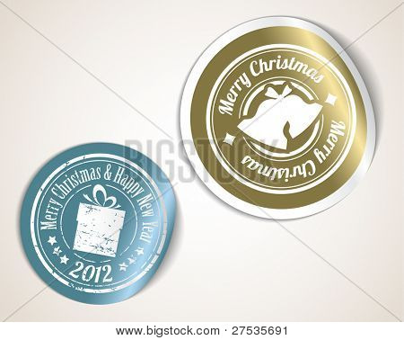 Vector christmas stickers - silver and golden