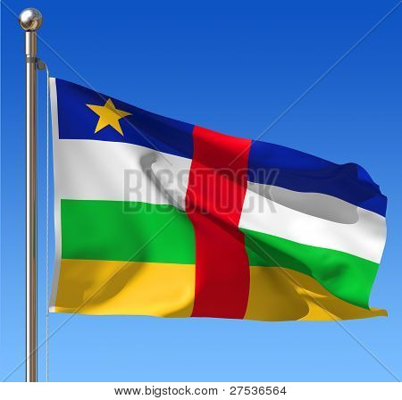 Flag of Central African Republic against blue sky.