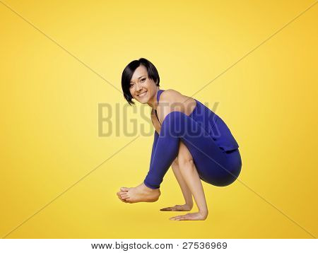 woman exercise yoga pose and smile