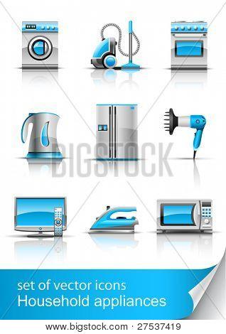 definir ícone de electrodomésticos ilustração vetorial, isolada no fundo branco