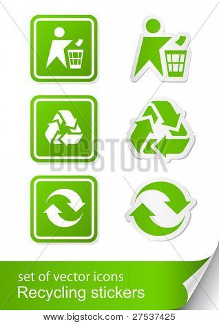 conjunto de reciclagem ilustração vetorial da etiqueta do ícone sinal isolada no fundo branco