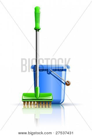 bucket and mop for cleaning vector illustration isolated on white background