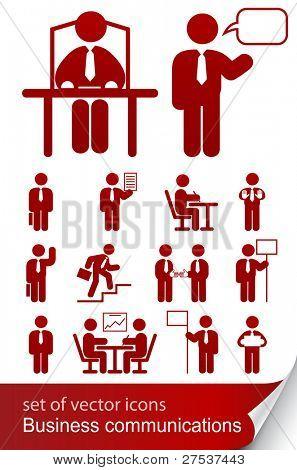 conjunto ilustración de vector icono informativo negocio aislado sobre fondo blanco