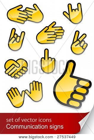 gesticulate hand for communication vector illustration isolated on white background