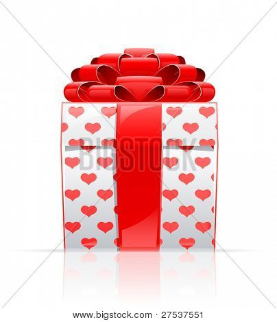gift box with red bow and heart vector illustration isolated on white background