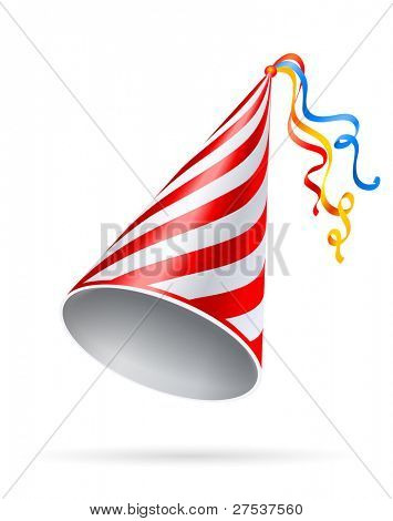 festive stripy cap vector illustration isolated on white background
