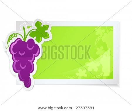 sticker with grapes cluster vector illustration isolated on white background