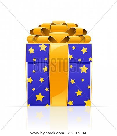 gift box with golden bow vector illustration isolated on white background