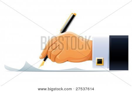 writening hand with pen vector illustration isolated on white background