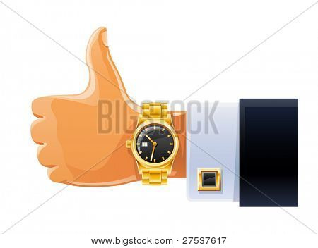 watch on hand vector illustration isolated white background