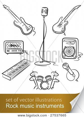set rock music instrument vector illustration isolated on white background