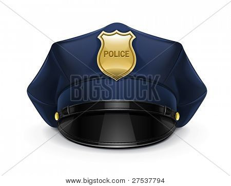 police peaked cap with cockade vector illustration isolated on white background