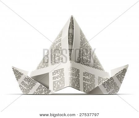 paper cap as origami handicraft vector illustration isolated on white background