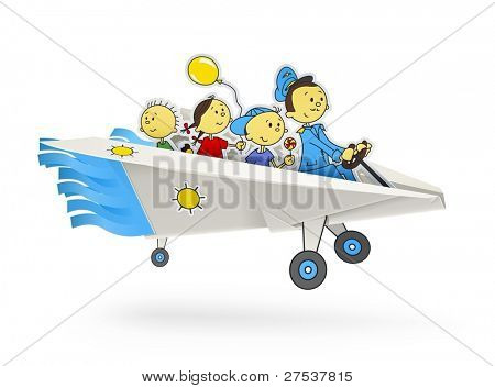 paper airplane with children origami vector illustration isolated on white background