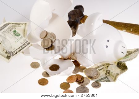 Broken Piggy Bank, American Currency