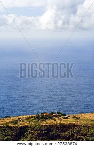 a lonely farm above the atlantic ocean at the north coast of La Palma