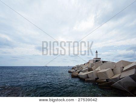 the lighthouse at the harbor of Eivissa, capital of the balearic island Ibiza