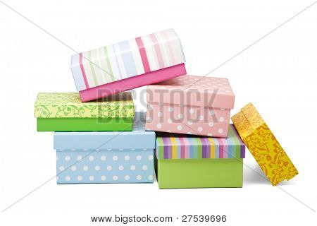 stack of various gift boxes isolated on white