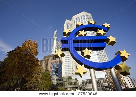 huge Euro sign in front of Eurotower, European Central Bank, Frankfurt