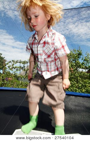 Trampoline Child Boy Bouncing Jumping