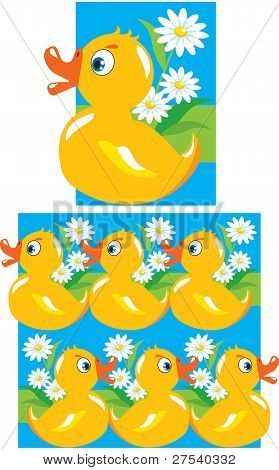 Pattern for children (yellow funny ducks)