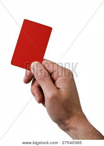Schiedsrichter Hand rot Strafe Karte isoliert auf weiss, die