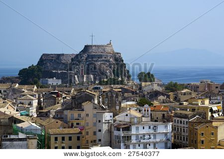 view over the city of Kerkyra, the Capital of Corfu, Greece, to the old fortress
