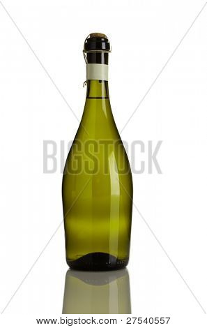 prosecco bottle without label isolated on white