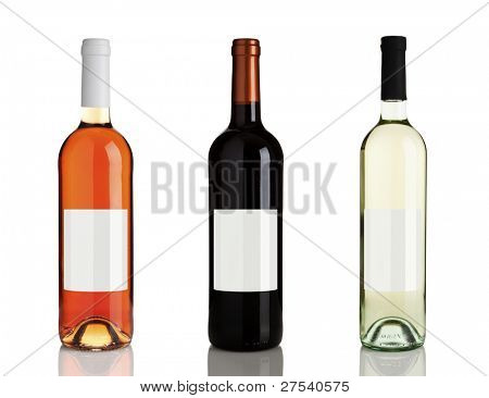rose wine, red wine, white wine bottles isolated on white background