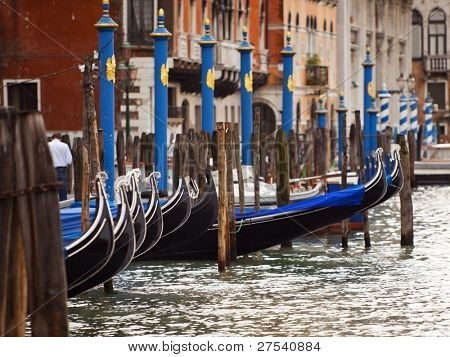 anchored Gondolas on the Canal Grande, Venice