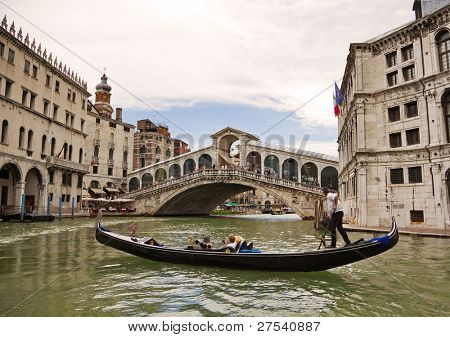 Gondola on the Canal Grande, Venice, heading to the Rialto bridge