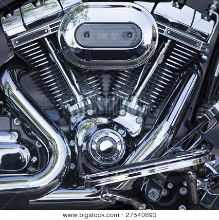 V-Twin motorcycle motor, chrome-plated and polished