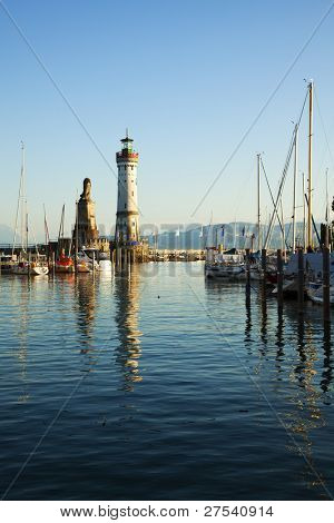entrance to the harbor of Lindau at the Lake Constance