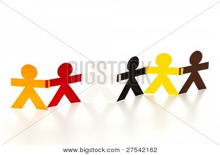 six paper cutout people in different colors arranged as a chain