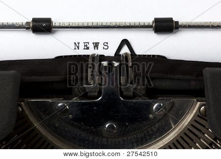 the word News written with old typewriter