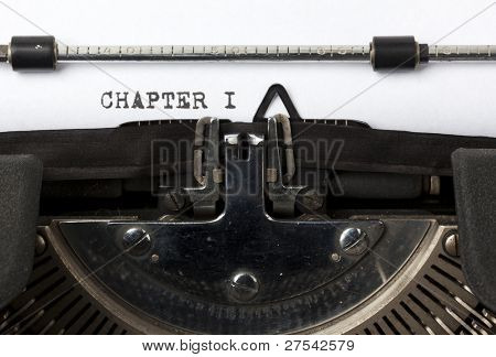 the words Chapter I written on old typewriter